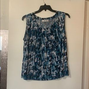 Blue tank, pleated front